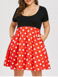 Polka Dot Print Plus Size Vintage Flare Dress -