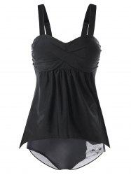 Ruched Tankini Top and Cat Print Briefs -