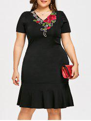 Plus Size Embroidery V Neck Mermaid Dress -