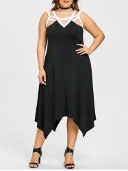 Plus Size Sleeveless Two Tone Handkerchief Dress -
