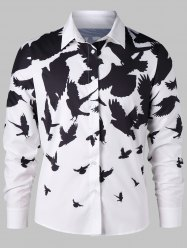 Two Tone Allover Birds Print Shirt -