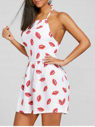 Halter Lip Print Backless Playsuit -
