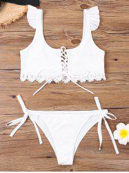 U Neck Tie Side Bikini with Lace -