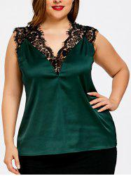 Plus Size Eyelash Lace Panel Tank Top -