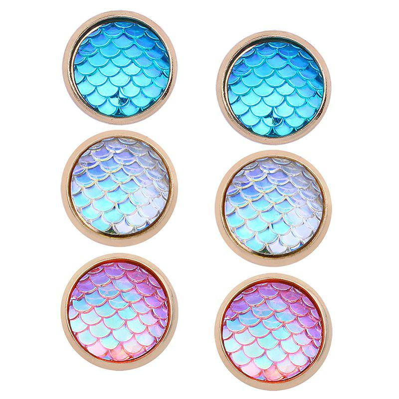 Store Colorful Scale Embellished Round Stud Earrings Set