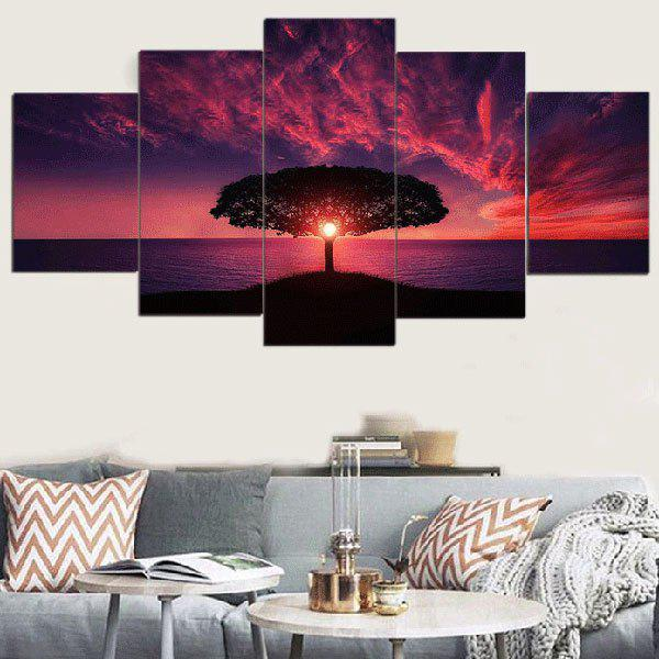 Discount Sunset Glow Seascape Printed Unframed Split Canvas Paintings