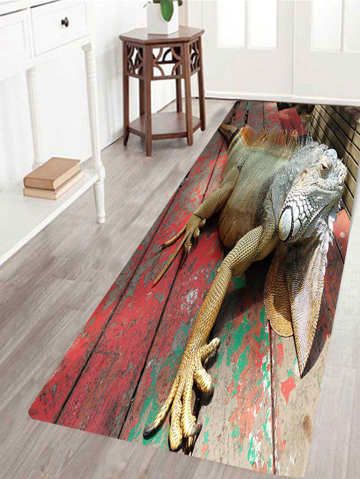 Affordable 3D Lizard Wood Print Water Absorption Area Rug