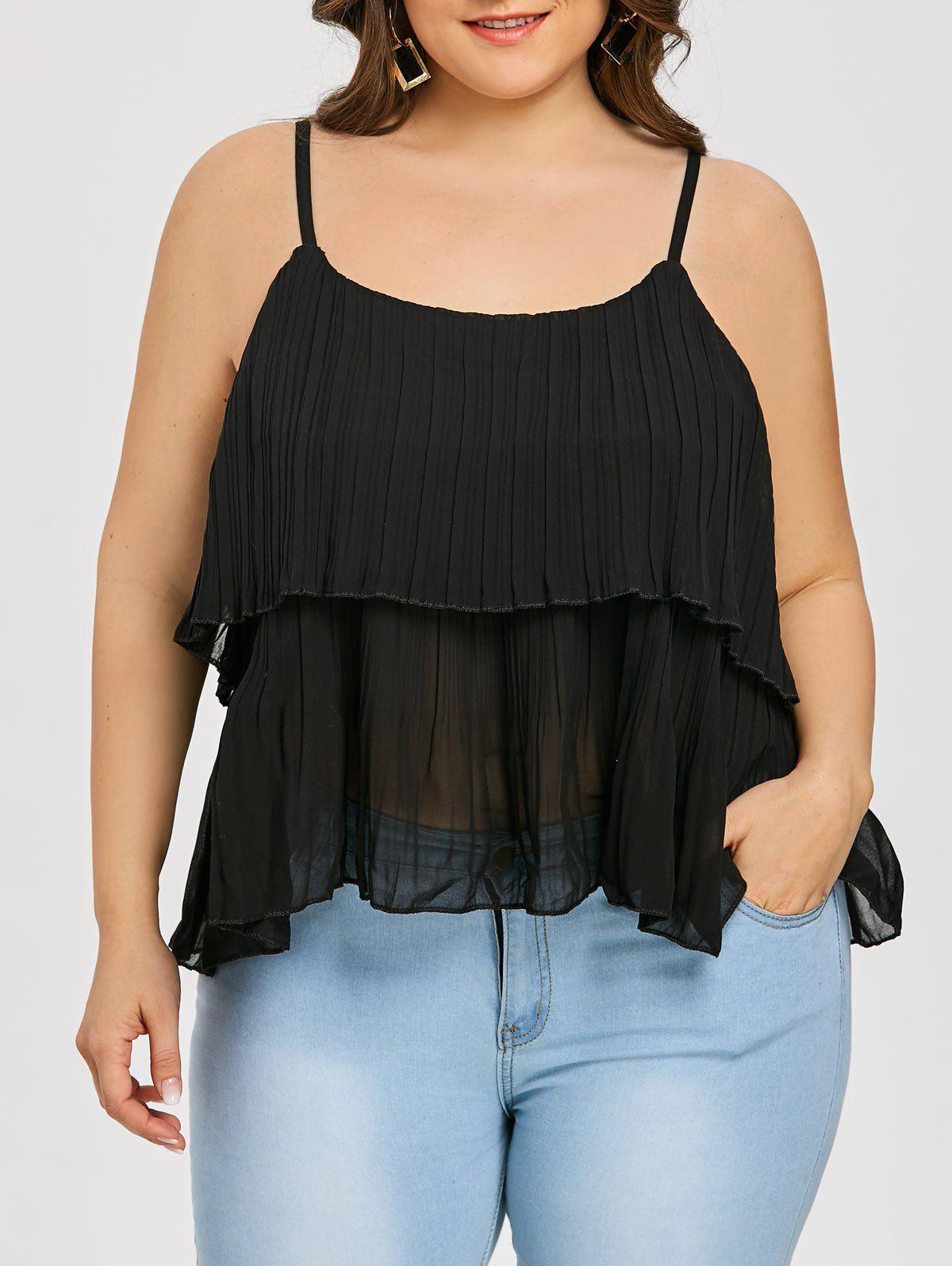 Shops Plus Size Cami Pleated Tiered Tank Top