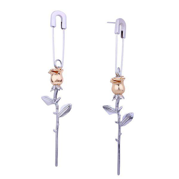 Online Creative Rose Pin Stud Drop Earring