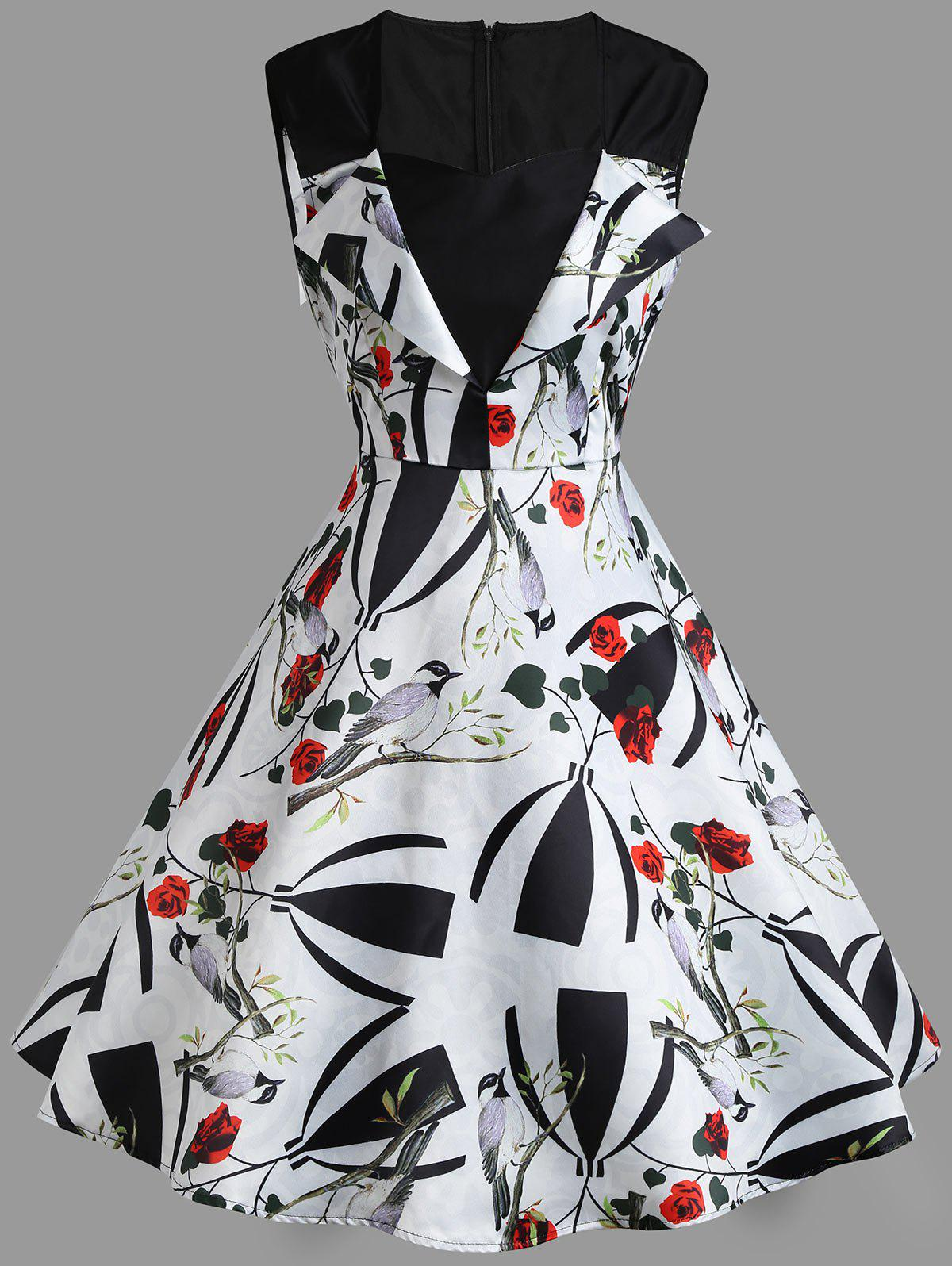 Sale Sweetheart Sleeveless Flower Print Vintage Dress