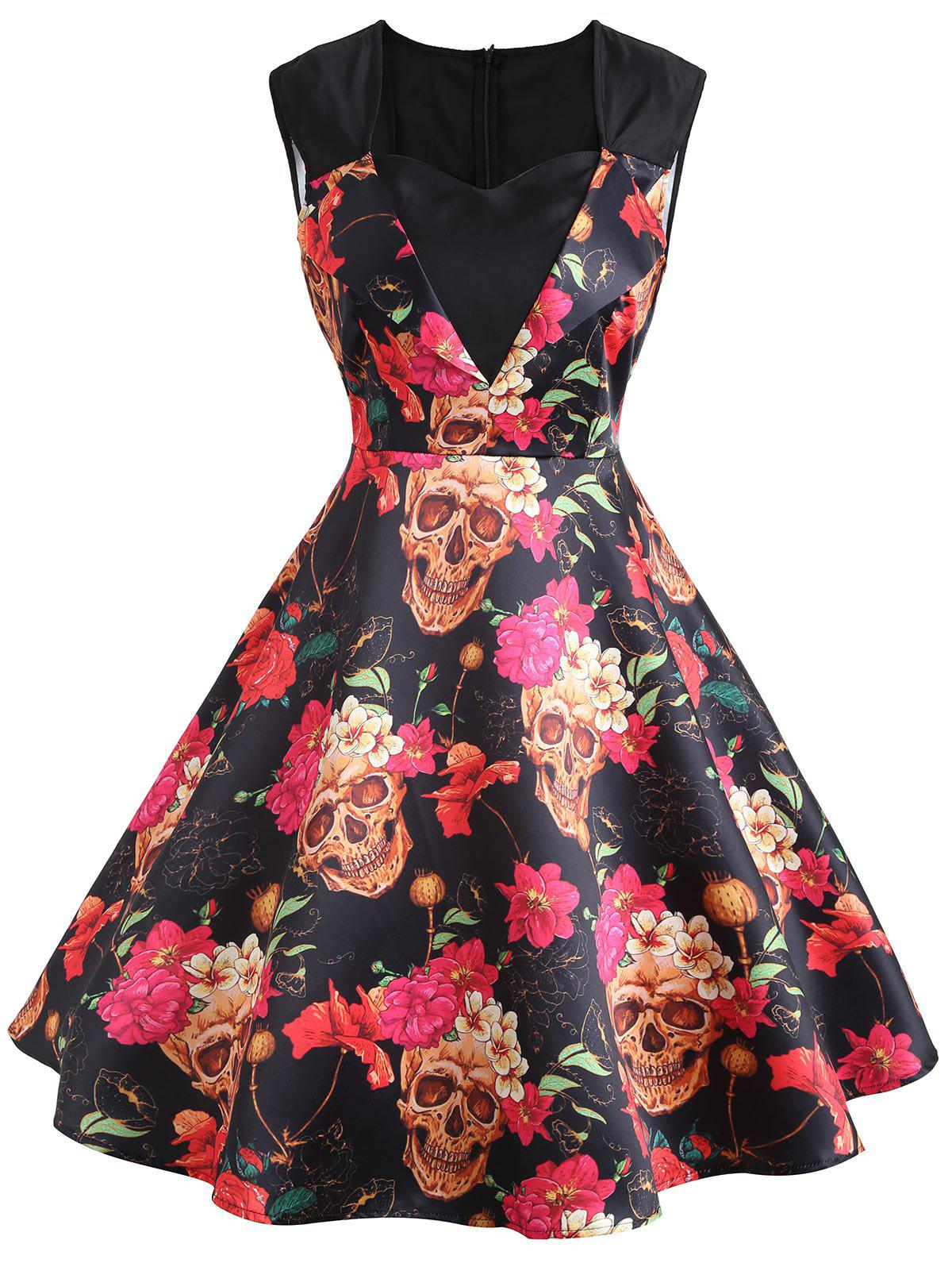 Best Sweetheart Sleeveless Flower Print Vintage Dress