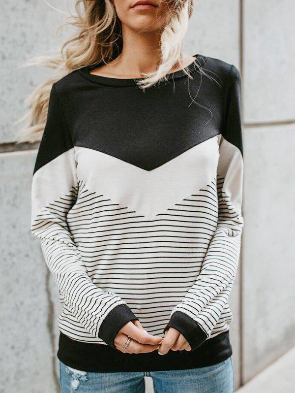 Fancy Color Lump and Striped Panel T-shirt