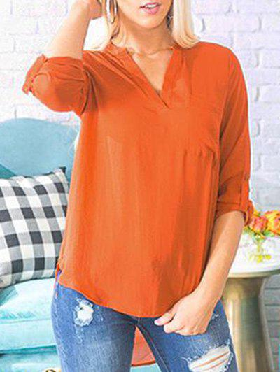 Cheap V Neck Front Pocket Shirt