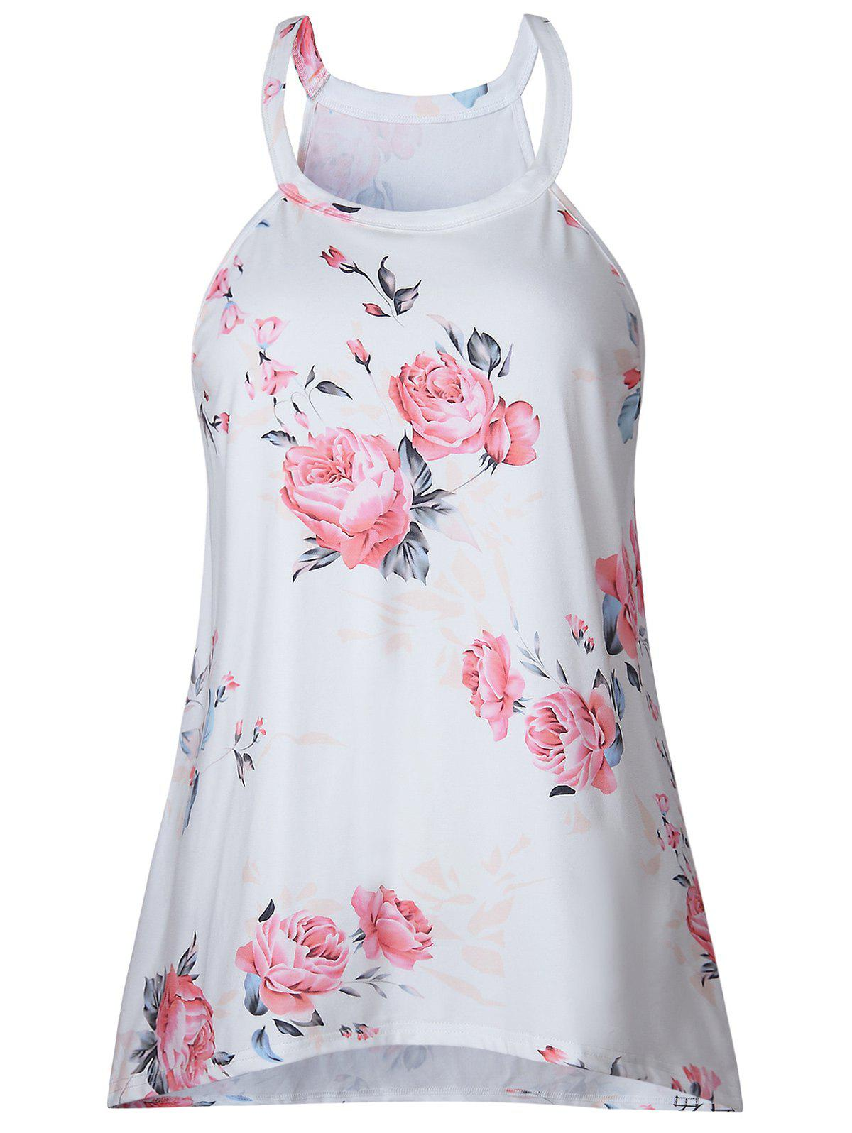 Chic Sleeveless Floral Print T-shirt