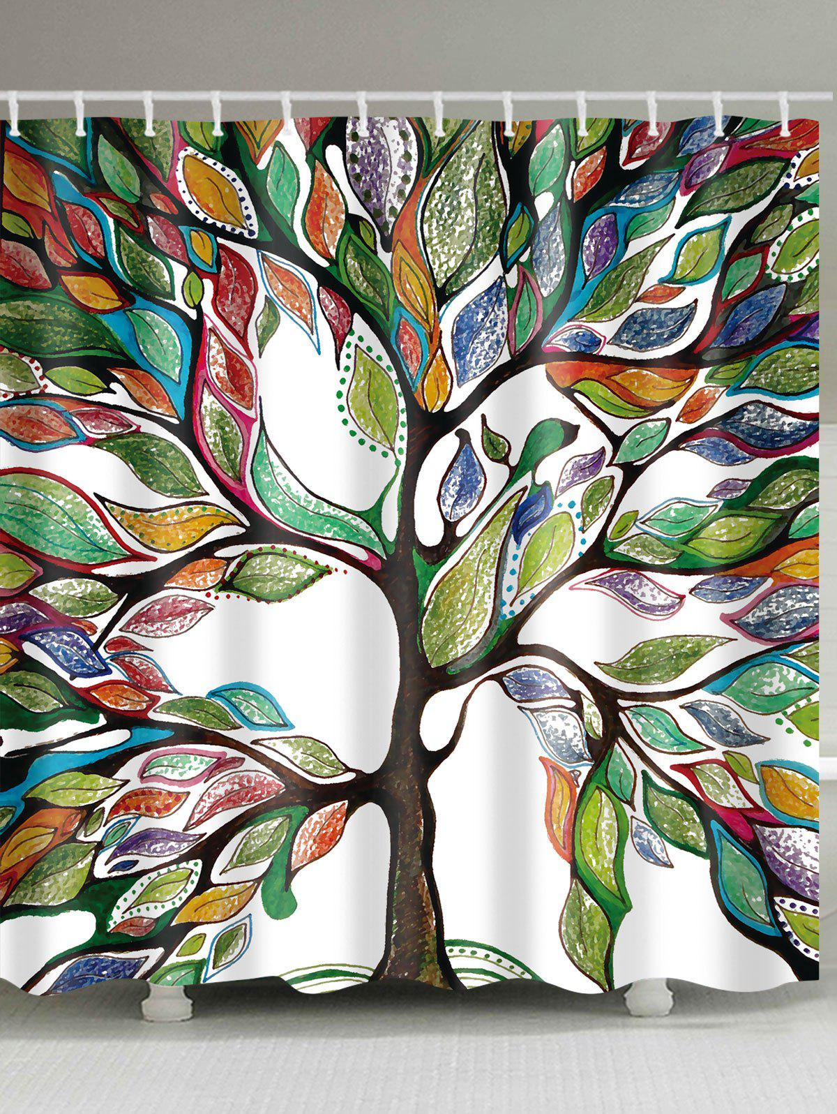 Image of Waterproof Colorful Tree Printed Shower Curtain