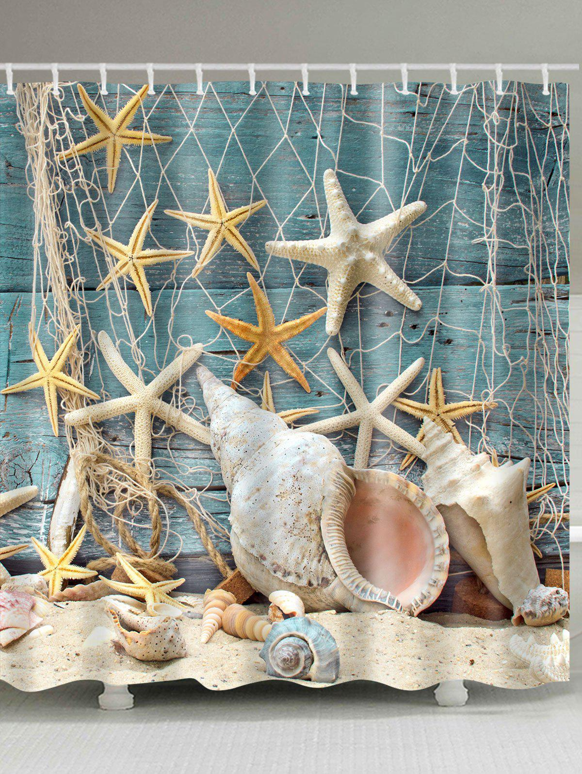 Online Waterproof Starfish and Shell Printed Bath Shower Curtain