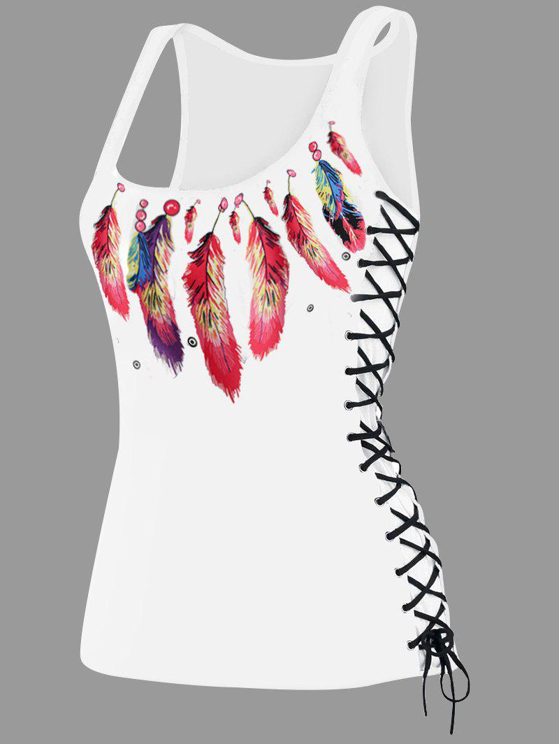 Sale U Neck Feather Print Lace Up Tank Top