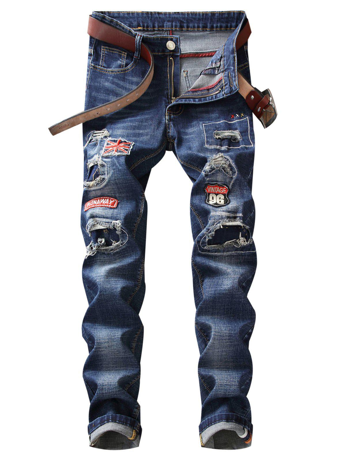 Online Straight Leg Patches Ripped Jeans