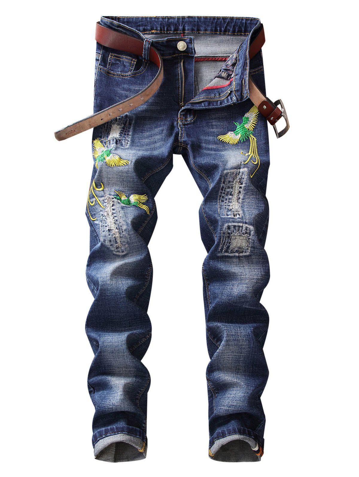 Trendy Straight Leg Phoenix Embroidered Distressed Jeans