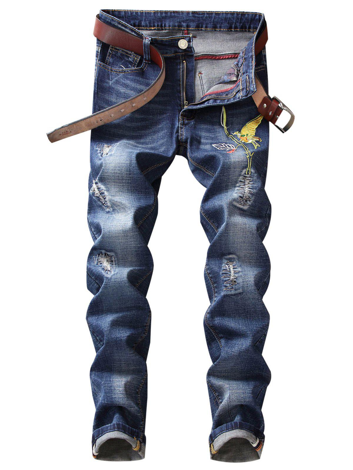 Discount Straight Leg Bird Embroidery Distressed Jeans
