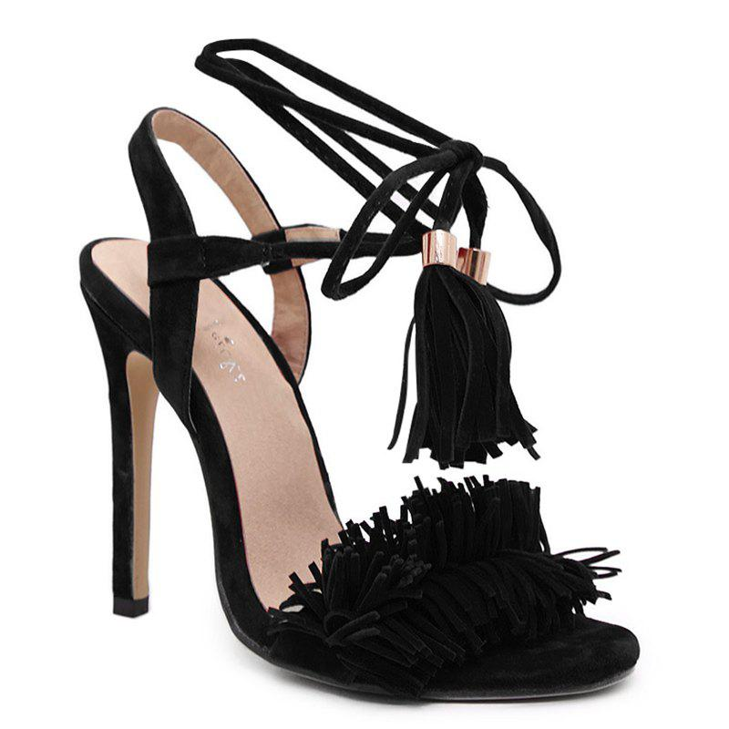 Fancy Lace Up Sandals with Tassels