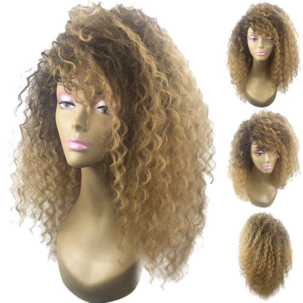 Trendy Long Fluffy Side Bang Colormix Wavy Synthetic Wig