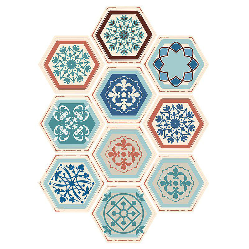 Affordable 10PCS Hexagon Floral Patterned Wall Stickers