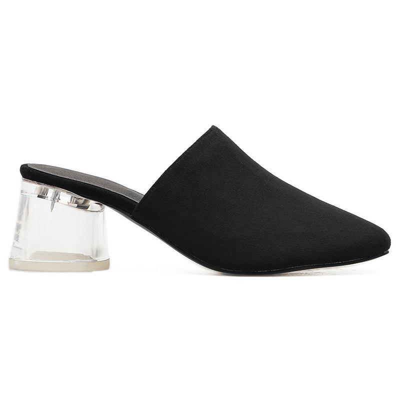 Fashion Transparent Middle Heel Mules Shoes