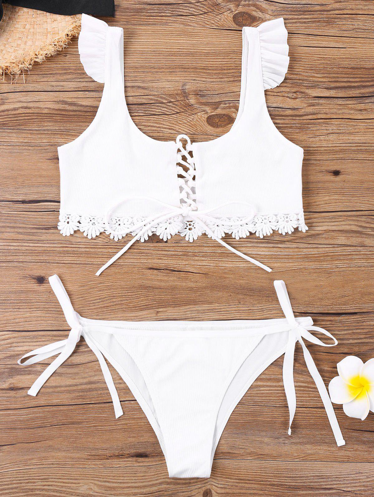 Shops U Neck Tie Side Bikini with Lace