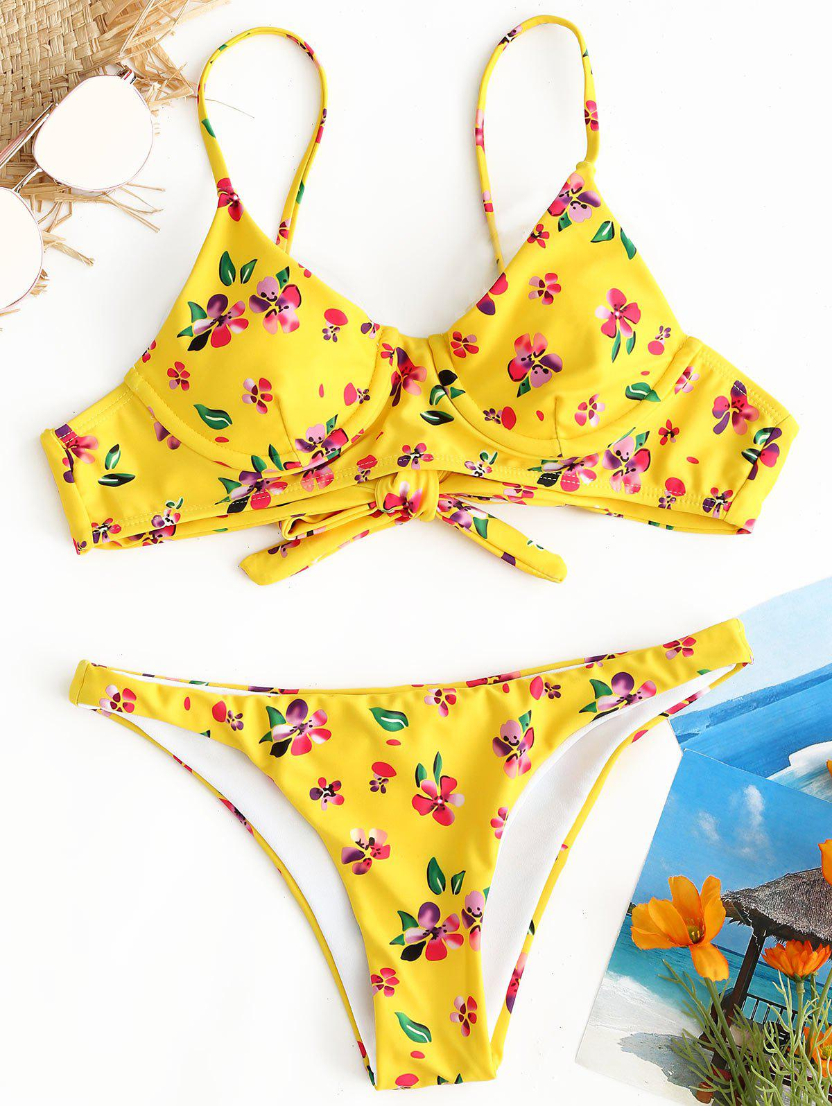 Trendy Low Waist Floral Thong Bikini Set