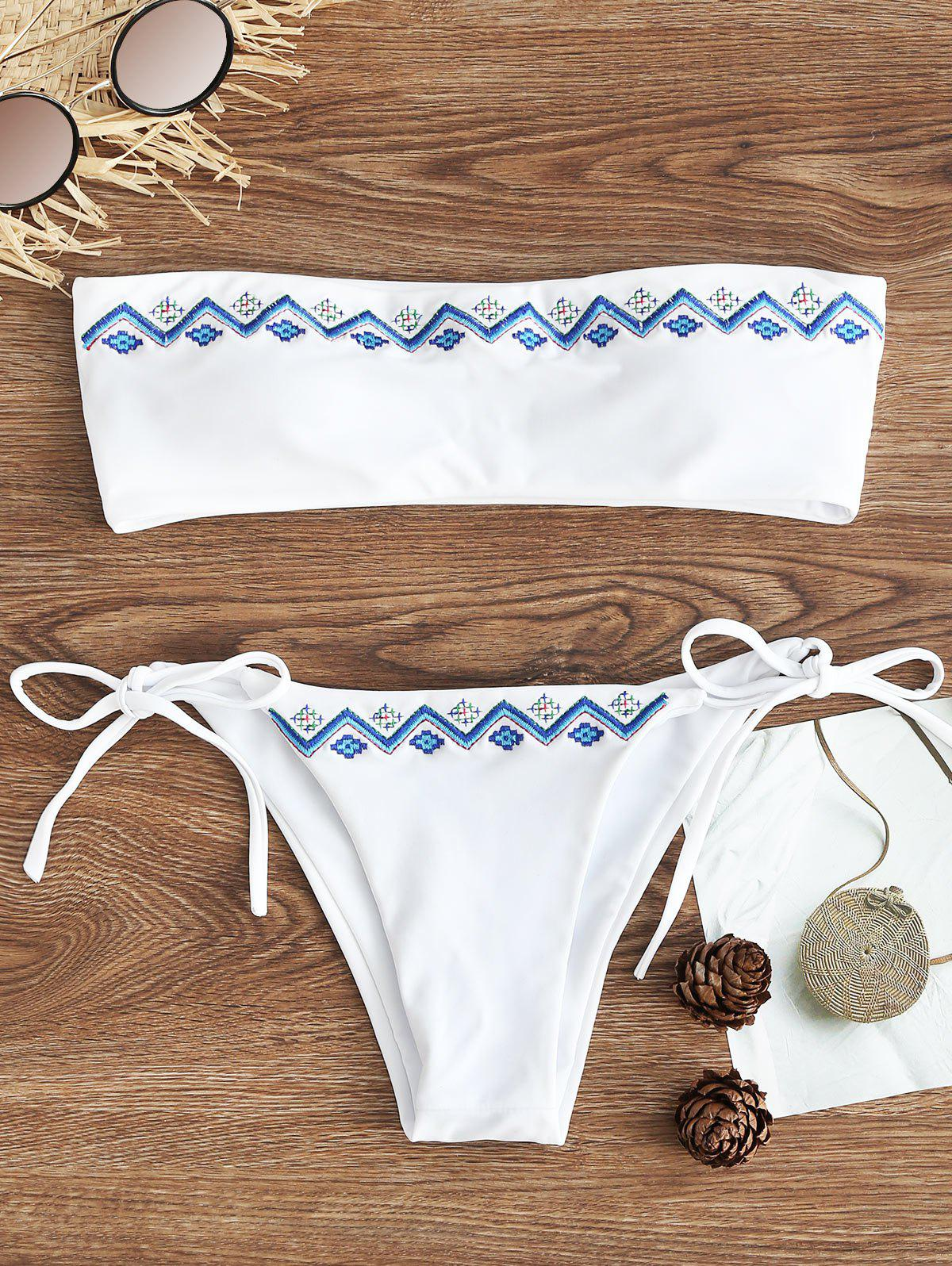 Trendy Bandeau Embroidered String Bikini Set