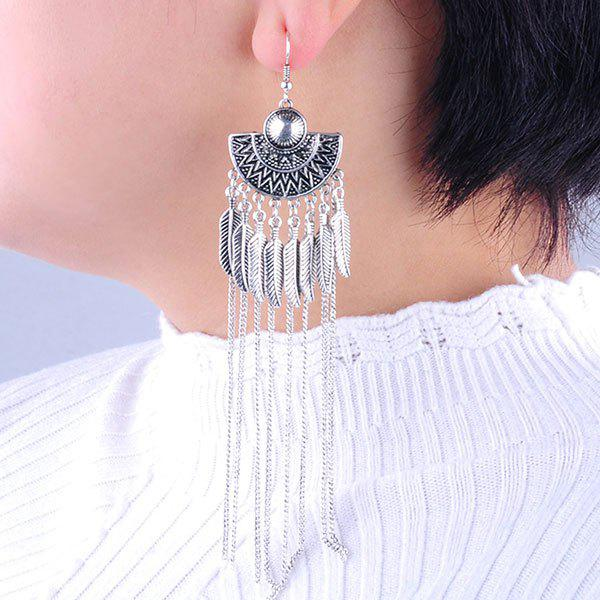 Latest Long Vintage Alloy Leaf Fringed Drop Earrings