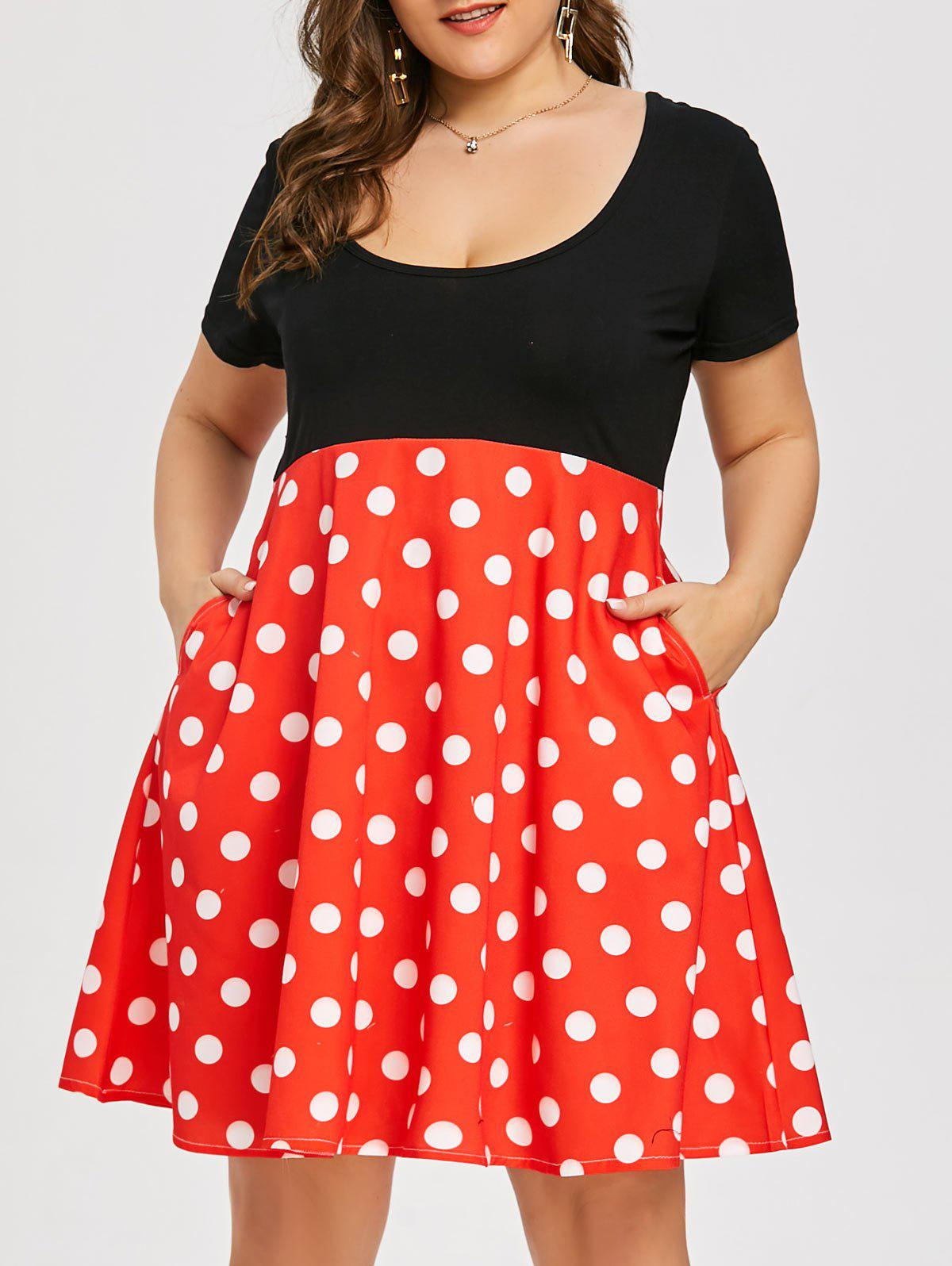 Hot Polka Dot Print Plus Size Vintage Flare Dress