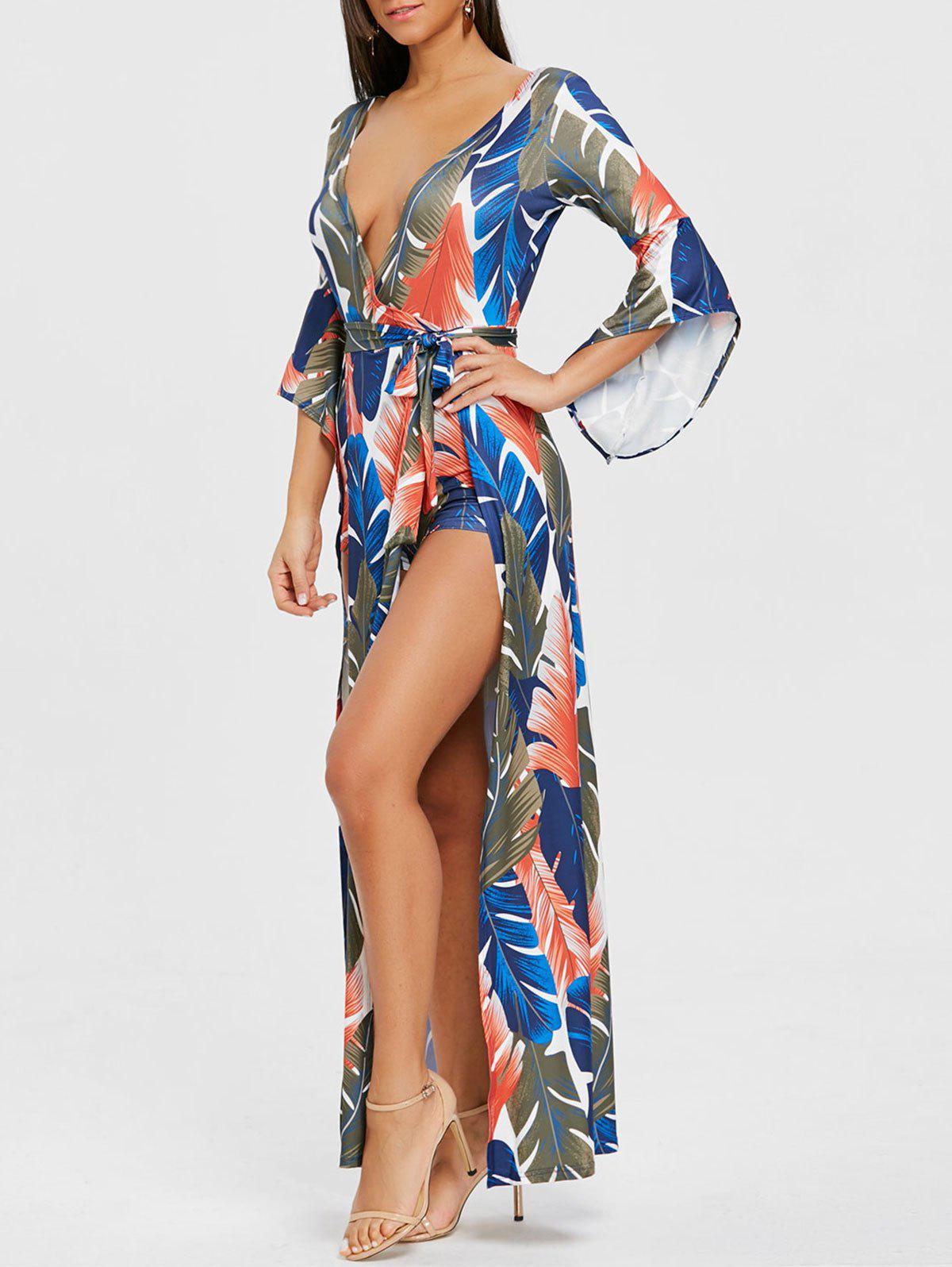 Buy Plunging Neck High Slit Leaf Print Wrap Dress