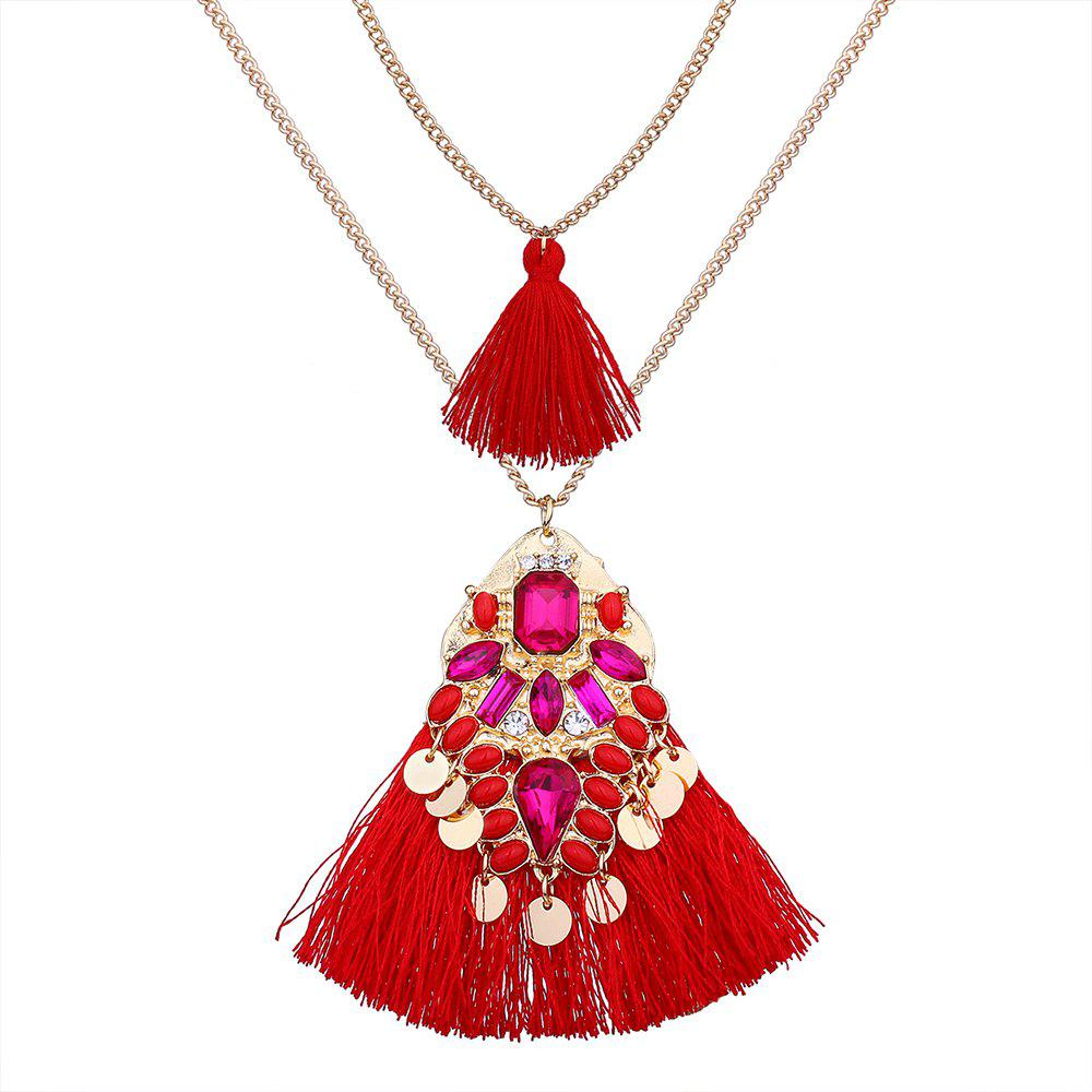 Outfit Artificial Crystal Disc Tassel Layered Necklace