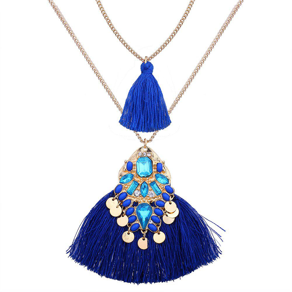 Chic Artificial Crystal Disc Tassel Layered Necklace