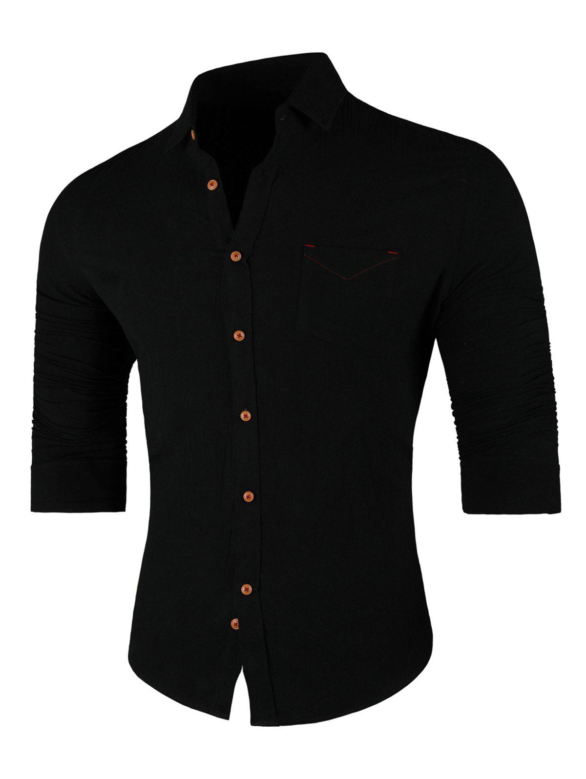 Store Chest Pocket Long Sleeve Casual Shirt
