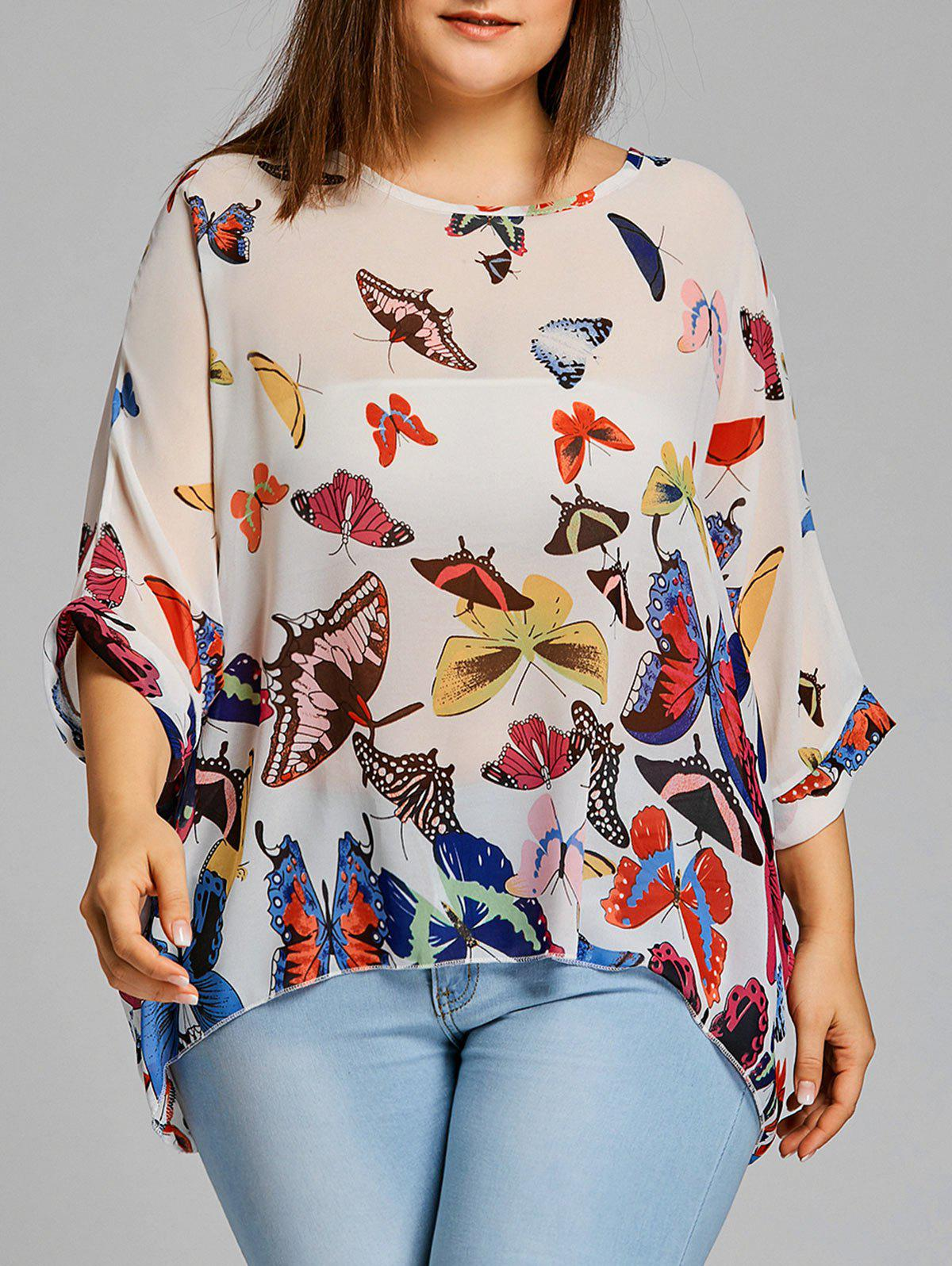 Shop Chiffon Butterfly Print Plus Size Blouse