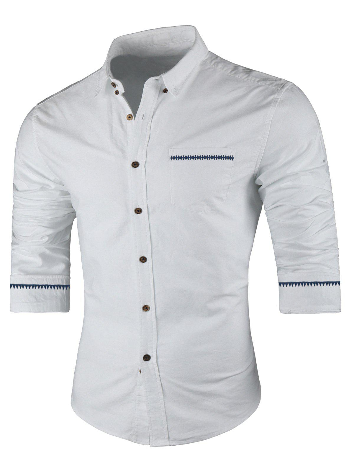 Best Contrast Trim Button Down Shirt