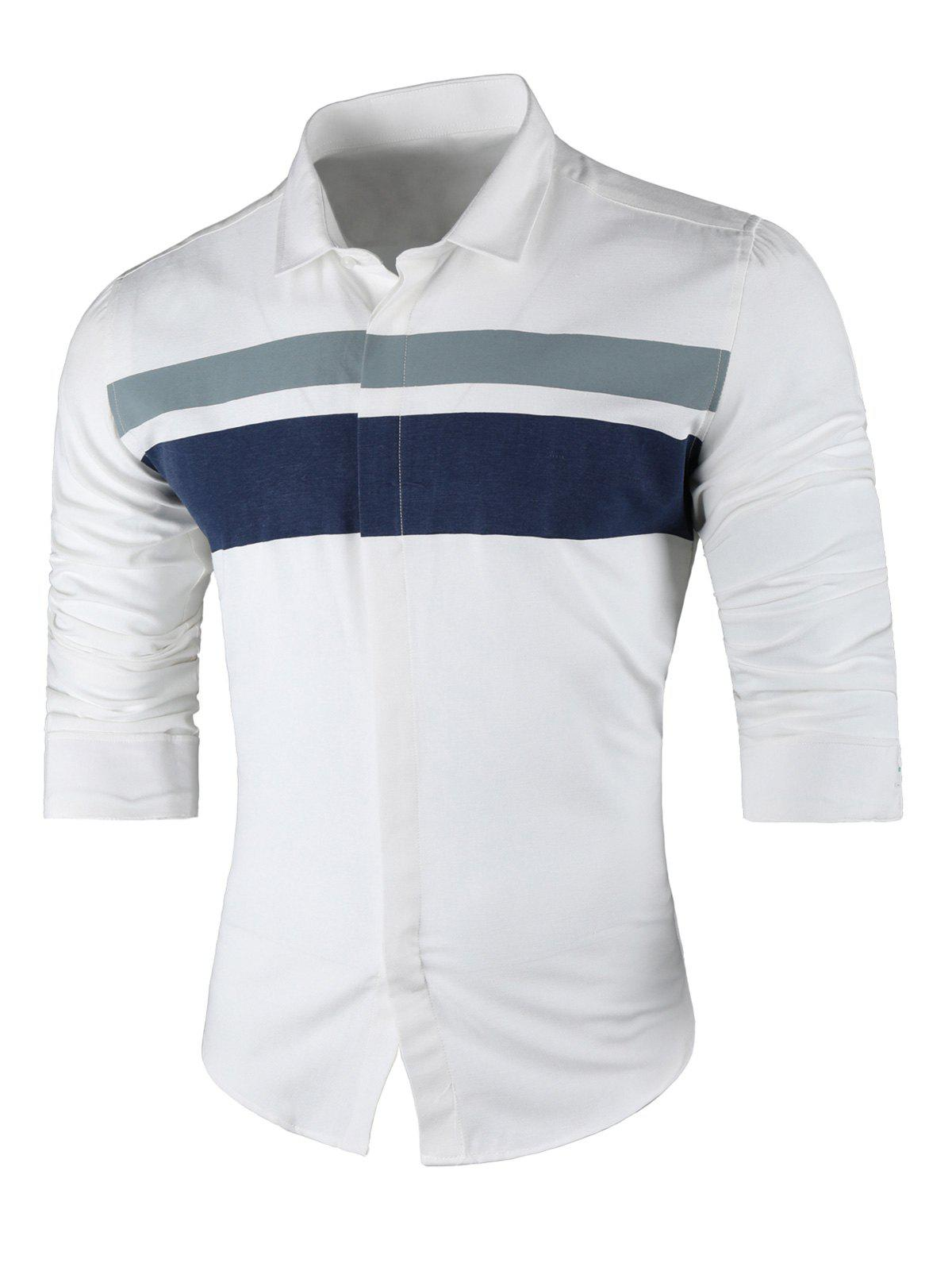 Best Contrast Wide Stripe Long Sleeve Shirt