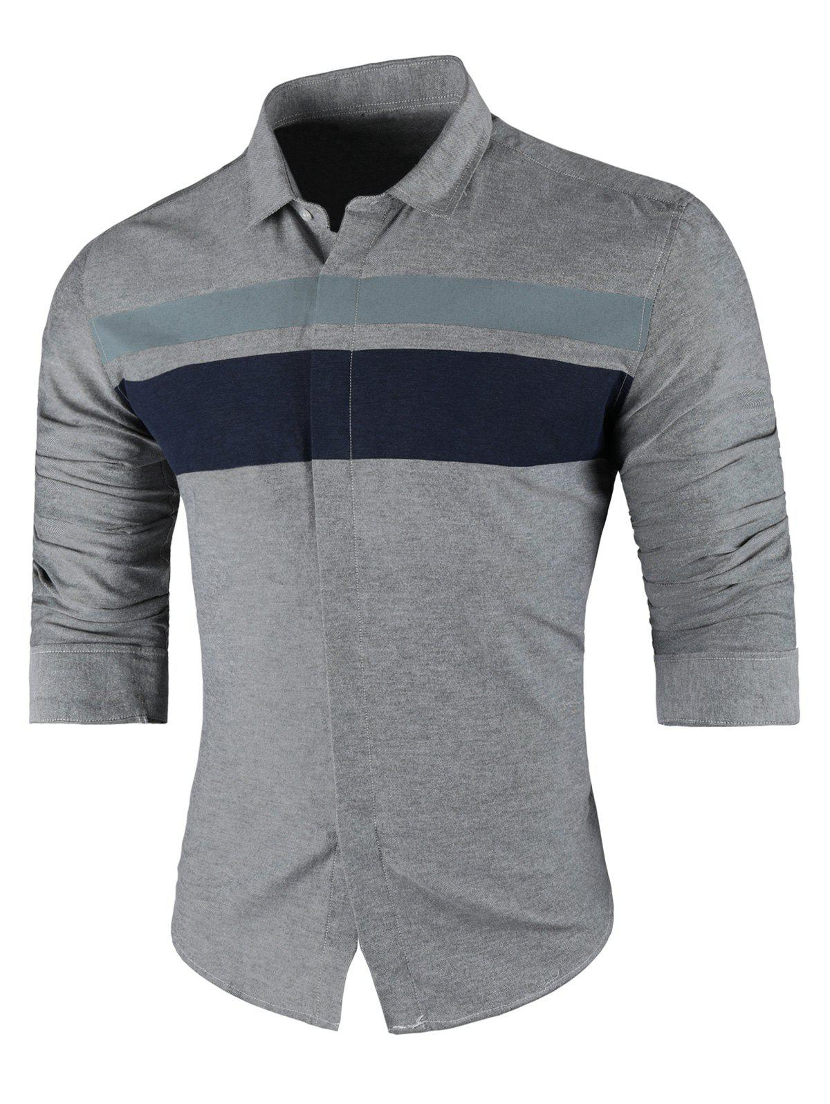 Online Contrast Wide Stripe Long Sleeve Shirt
