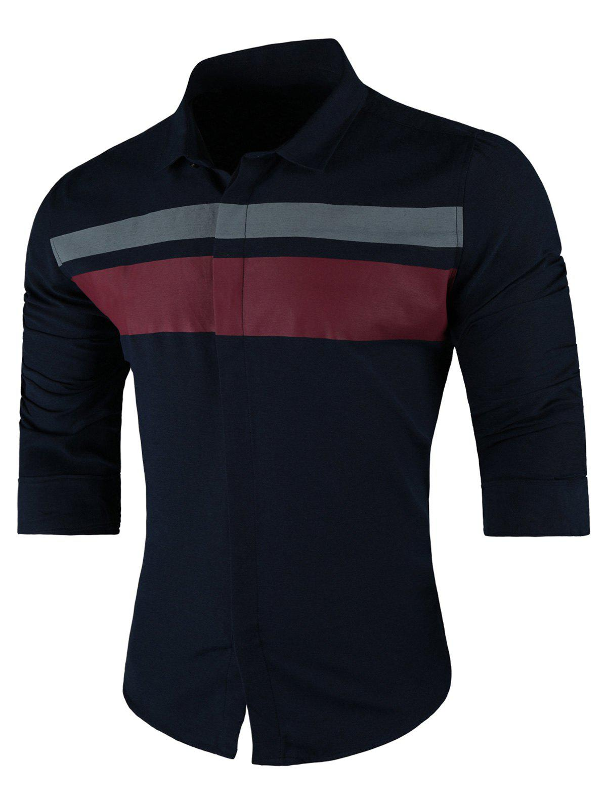 Buy Contrast Wide Stripe Long Sleeve Shirt