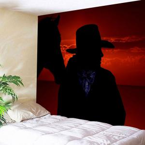 West Cowboy at Sunset Printed Wall Art Tapestry -