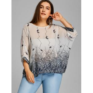 Graphic Batwing Sleeve Plus Size Chiffon Blouse -