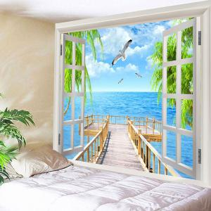 Seaside Wooden Bridge Seegulls Print Wall Tapestry -
