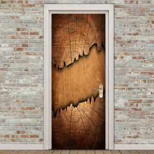 Broken Wood Board Print Decorative Door Stickers -
