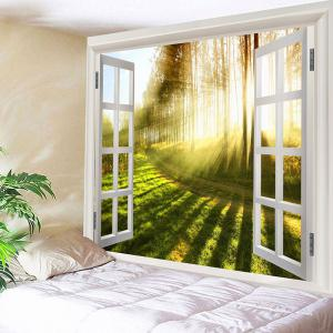 Waterproof Sunlight Pine Forest Trail Print Wall Tapestry -