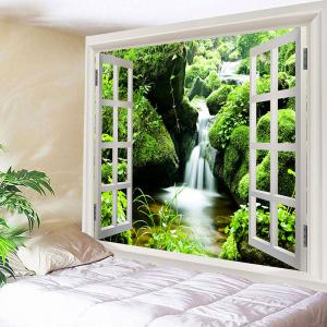 3D Window Moss Spring Water Print Wall Hanging Tapestry -