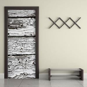 Decorative Ragged Plank Printed Door Stickers -