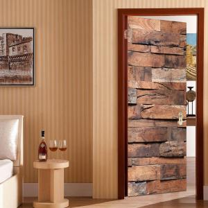 Wood-grained Plank Print Door Stickers -